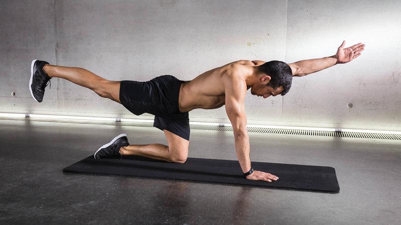 exercice dos sans matériel levé de bras et jambes